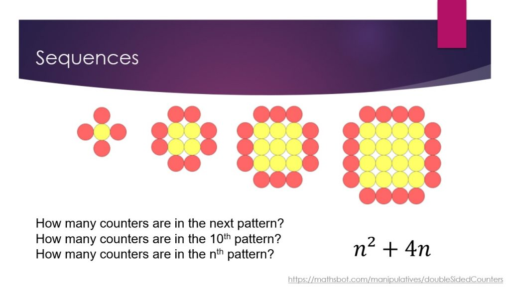 Quadratic sequences using double sided counters.
